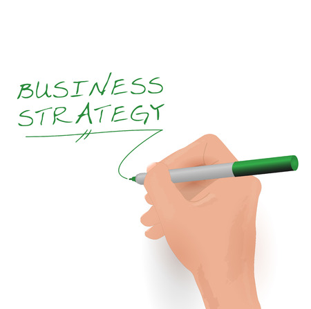 Illustration of a hand writing the words Business Strategy. Vector