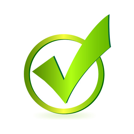 check mark: Image of a green check mark isolated on a white background.