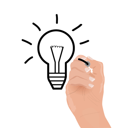 hand writing: Image of a hand drawing a light bulb isolated on a white background. Illustration