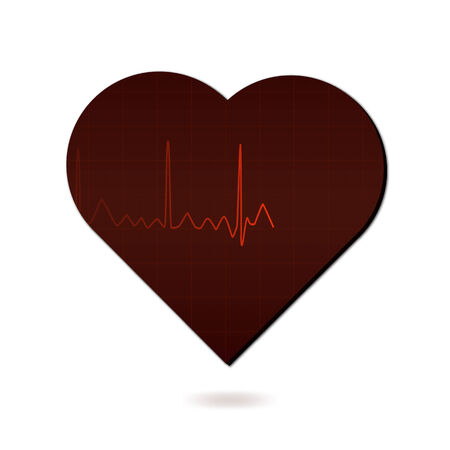 heart monitor: Image of a medical monitor in the shape of a heart isolated on a white background.
