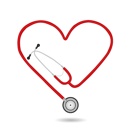 Image of a medical stethoscope isolated on a white background.