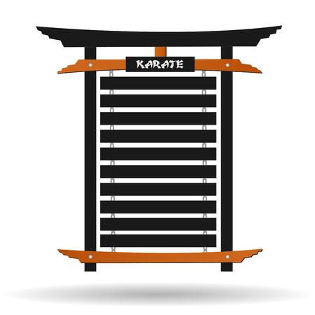 Image of a karate belt rack isolated on a white background. Ilustração