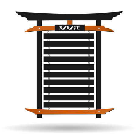 kata: Image of a karate belt rack isolated on a white background. Illustration