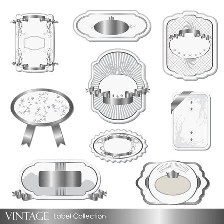 Illustration of various silver and white vintage labels isolated on a white background  Çizim