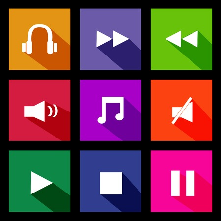 windows 8: Illustration of various colorful audio metro icons on a dark background