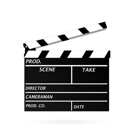 clapper board: Image of a movie clapper board isolated on a white background.