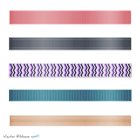 Illustration of various colorful ribbons isolated on a white background. Vector