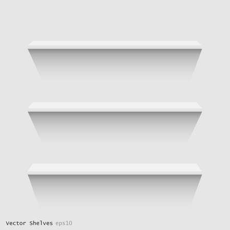 Image of white floating shelves against a wall. Vector