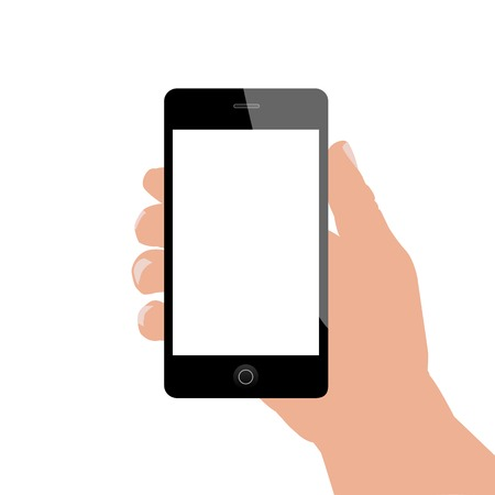 using smart phone: Illustration of a hand holding a smartphone isolated on a white background