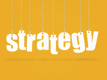 brand new: Hanging text with the concept Strategy.