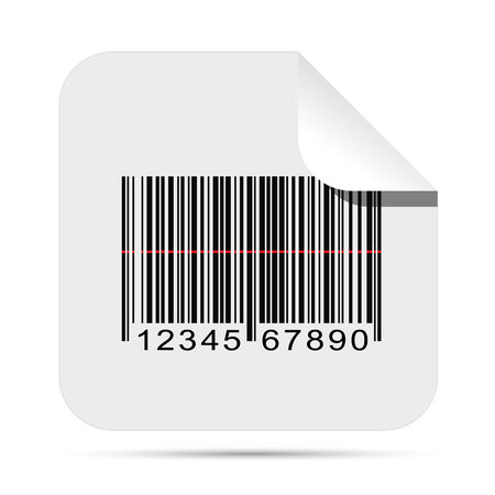 Illustration of a barcode sticker isolated on a white background. Çizim
