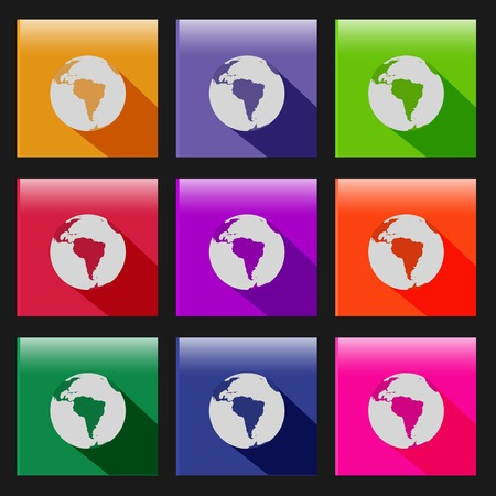 Illustration of various colorful earth web icons. Vector