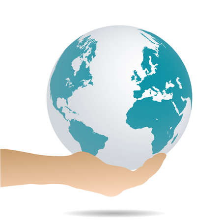 Illustration of a hand holding the earth isolated on a white background. Vector