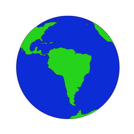 flat earth: Illustration of the earth isolated on a white background. Illustration