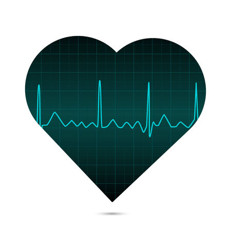 cardiograph: Illustration of a heart with ECG monitor. Illustration