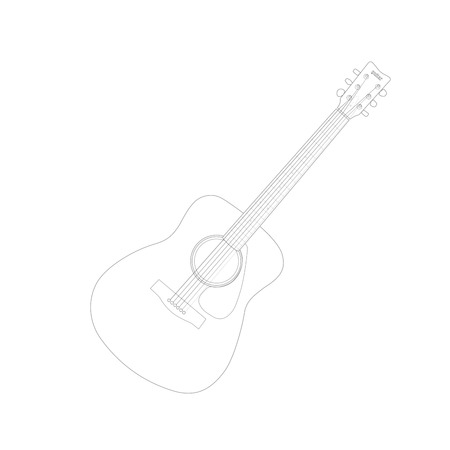 Vector Illustration of an acoustic guitar drawing isolated on a white background. Vector