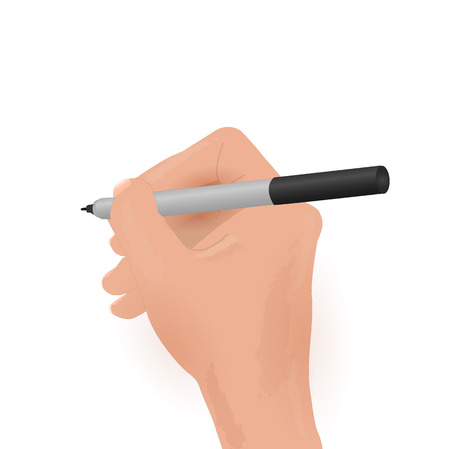 Illustration of a hand holding a marker isolated on a white background. Vector