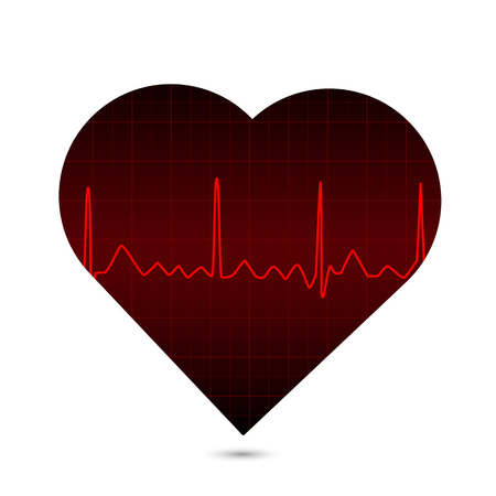 Illustration of a heart with an ECG monitor isolated on a white background.