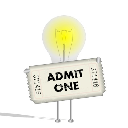 Illustration of a lightbulb character holding a ticket.