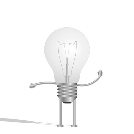 Illustration of a lightbulb character isolated on a white background. Vector