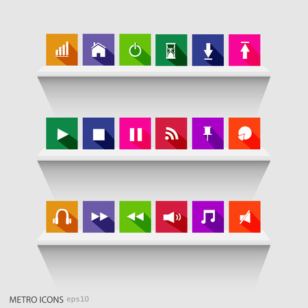 fast forward: Illustration of colorful metro icons on shelves. Illustration