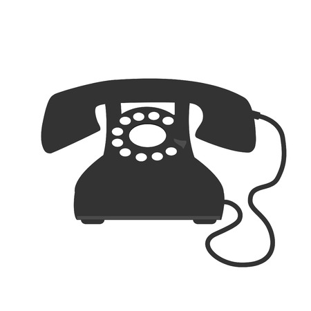 black phone and call: Image of a vintage telephone isolated on a white background.