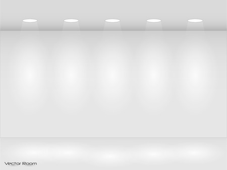 Illustration of room with lights.