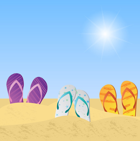 sandy feet: Illustration of beach sandals in the sand with sky and sun.