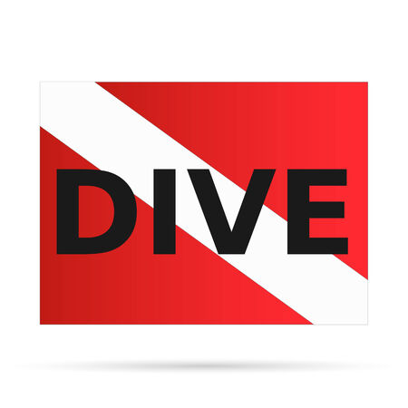 sky diving: Illustration of a scuba dive flag isolated on a white background.