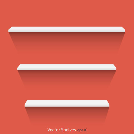 Illustration of shelves against a colorful background.