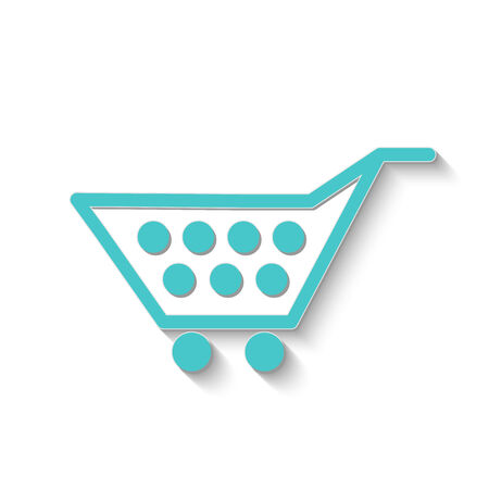 Image of a colorful shopping cart icon isolated on a white background. Vector