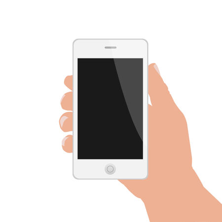 using smart phone: Illustration of a hand holding a smart phone isolated on a white background. Illustration