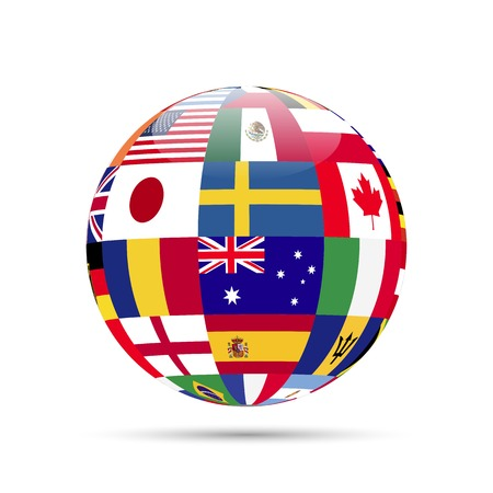 Illustration of a sphere with flags isolated on a white background. Stock Illustratie