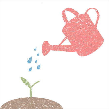 Illustration of watering can and plant isolated on a white background. Illustration
