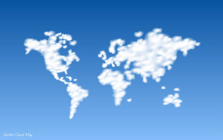 Illustration of a clouds world map with a blue sky background. Illustration