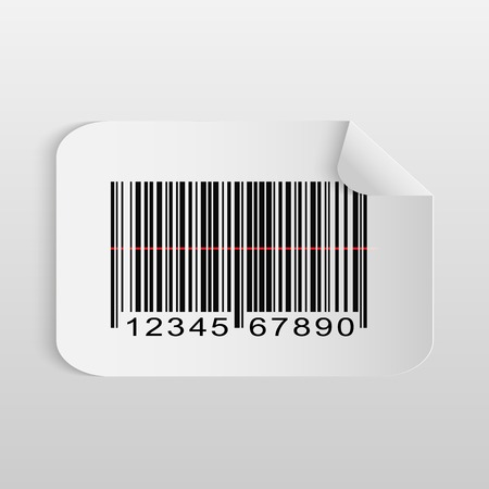 Illustration of a paper barcode sticker isolated on a light background. Vector