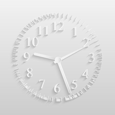 Illustration of a paper clock isolated on a light background. Vector