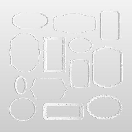 Illustration of white paper frames isolated on a light background. Illustration
