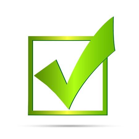 to tick: Ilustración de una marca de verificación verde aislado en un fondo blanco. Vectores