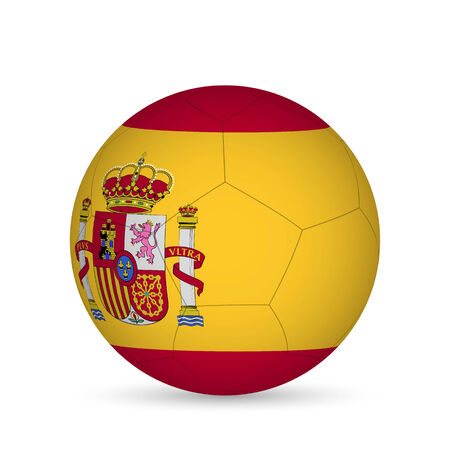 Illustration of a soccer ball with Spain flag isolated on a white background. Vector