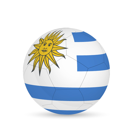 Illustration of a soccer ball with Uruguay flag isolated on a white background.