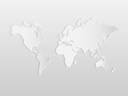 details: Illustration of a paper world map isolated on a white background.