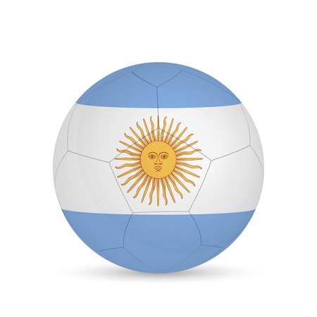 Illustration of a soccer ball with Argentina flag isolated on a white background. Vectores
