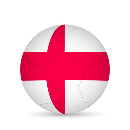 Illustration of a soccer ball with England flag isolated on a white background.