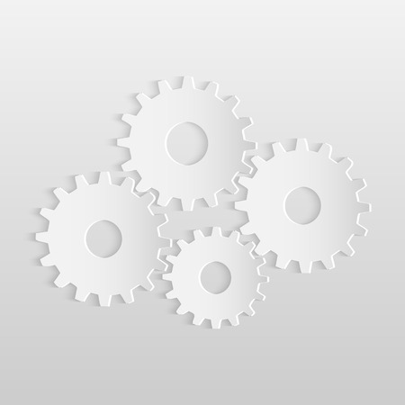 Illustration of paper gears isolated on a light background.