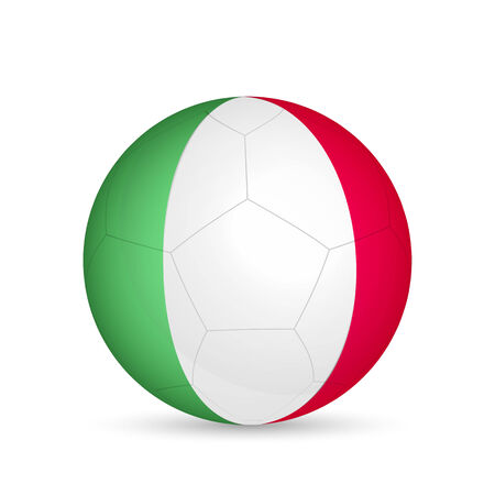 Illustration of a soccer ball with flag of Italy isolated on a white background.
