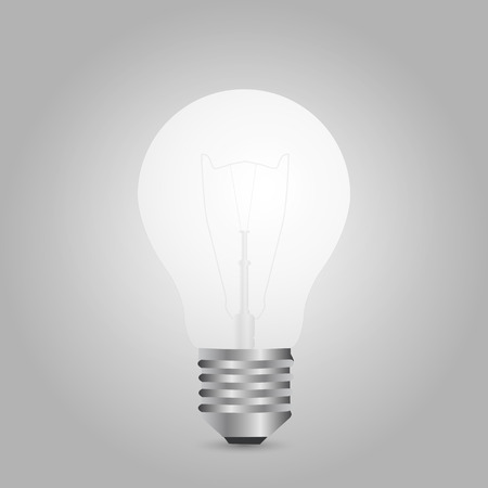 Illustration of a lightbulb isolated on a gray background. Ilustração