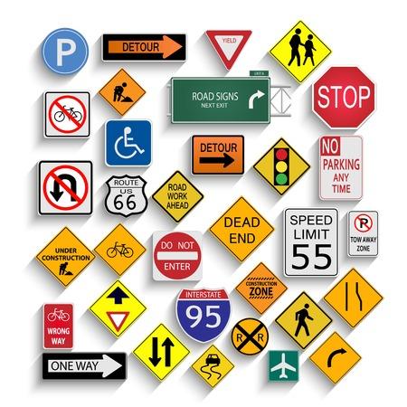 znak drogowy: Ilustracja z różnych znaków drogowych na białym tle.