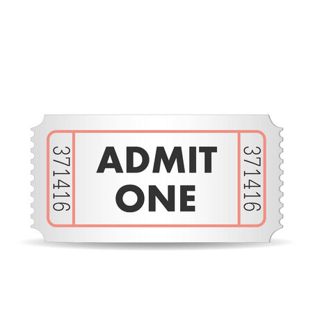 admit: Illustration of an admit one ticket isolated on a white background.