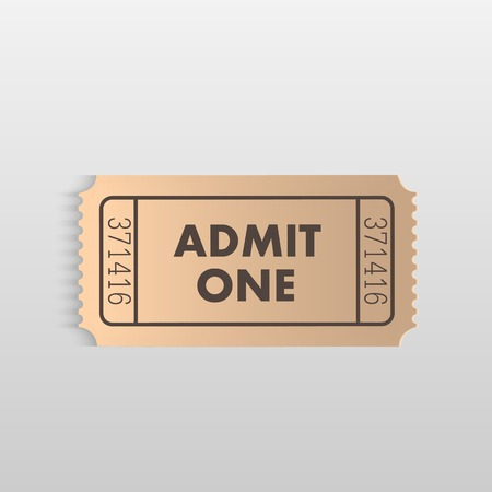 Illustration of an Admit One ticket on a light background.